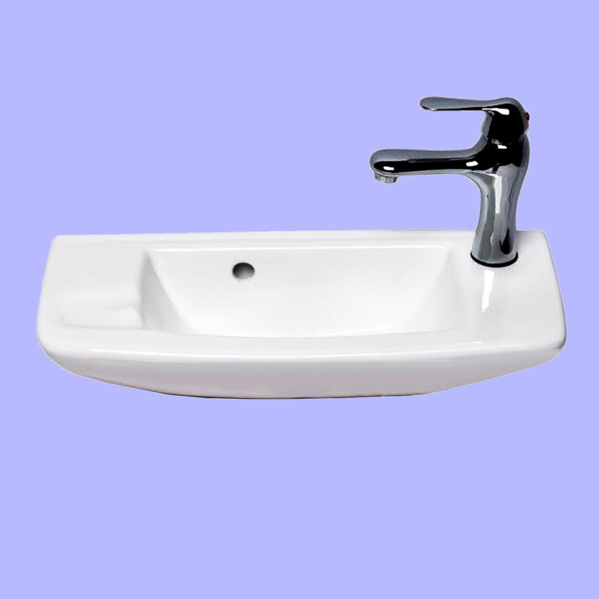 Wall Mount Sink WITH FAUCET AND DRAIN White Bathroom Overflow ...
