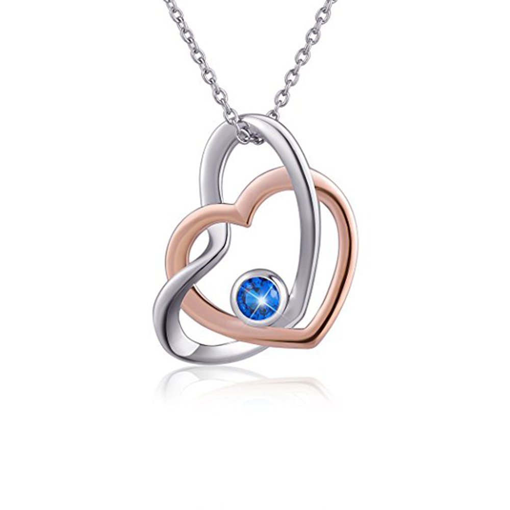 Silverraj Heart Pendant 14K Rose Gold Plated Simulated Excellent Cut Blue CZ Stone Classic Double Heart Pendant With 18 Chain