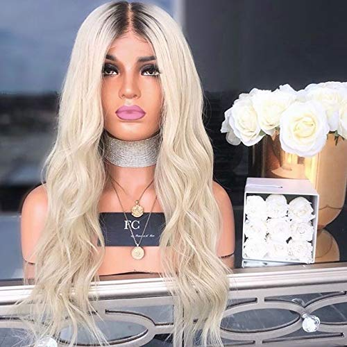 Fashionable Women Curly Wig Long Dark Root Blonde Synthetic Wigs