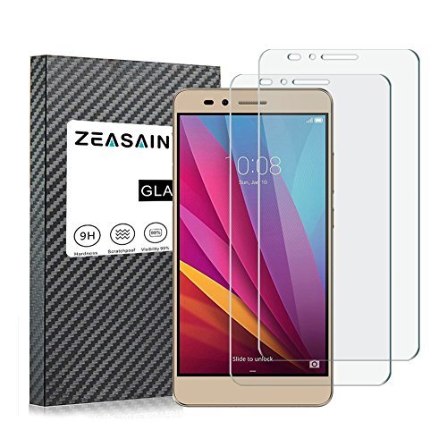 [2 Pack]ZEASAIN Huawei Honor 5X Screen Protector,Tempered Glass Screen Protector For Honor 5X 5.5 Inch ,0.26mm [3D Touch Compatible] with [9H Hardness][Bubble-Free][Anti-Scratch]