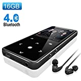 Bluetooth 4.0 MP3 Player,Valoin 16G 2.4 Inch HD Screen Touch Button Digital MP3 Player Lossless HiFi Sound Audio Music Player with FM Radio,Up to 50 Hours Playback (Black)
