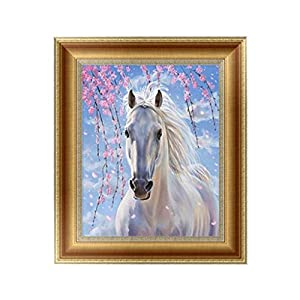 SCASTOE 5D White Horse Diamond Embroidery Painting DIY Cross Stitch Craft Home Decor