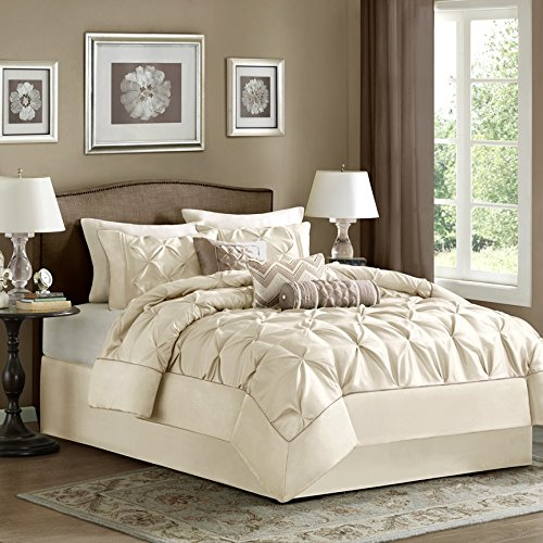 Madison Park Laurel King Size Bed Comforter Set Bed In A Bag - Ivory, Wrinkle Tufted Pleated – 7 Pieces Bedding Sets – Faux Silk Bedroom (433 Silk)