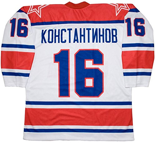 Sublimated Hockey Jersey - Konstantinov Moscow Red Army 1997 Russian White Hockey Jersey (52 (XL))