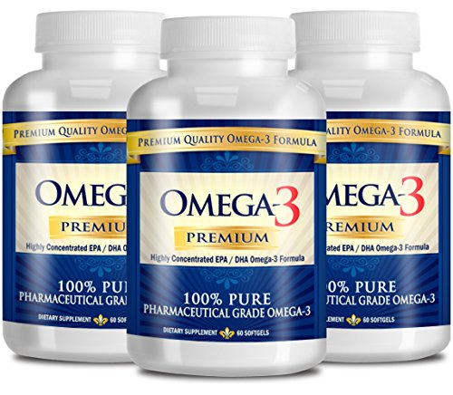 Omega-3 Premium: Pharmaceutical Grade Omega3 Fish Oil - 800mg EPA & 600mg DHA - No Aftertaste - 180 Capsules - 3 Month Supply - The #1 Health Supplement (Premium Omega 3)