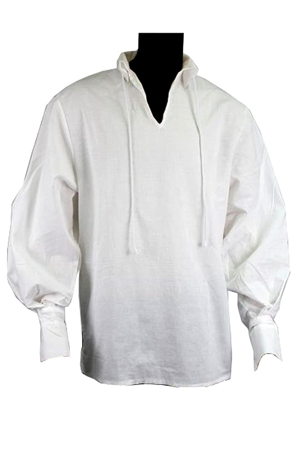 Exact Replica Jack Sparrow Pirate Shirt with Open Neck Collar by The Costume Base