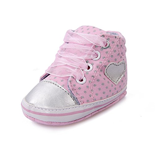OOSAKU Baby Lace Up Shoes High-Top Infant First Walker Sneakers (6-12 Months, Pink) - Baby High Top Shoes Pink