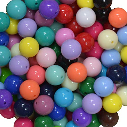 (16mm Bulk Mix of Solid Chunky Bubblegum Beads 24 Colors, 240 Acrylic Gumball Beads)