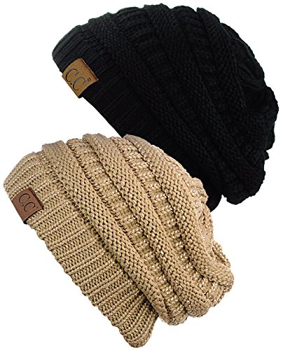 ky Soft Stretch Cable Knit Beanie Skully, 2 Pack Black/Gold ()