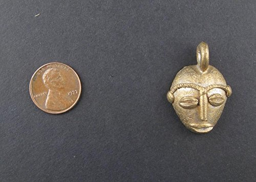 Traditional Mask Brass Pendant from Africa – Authentic Handmade Fair Trade Pendant – The Bead Chest