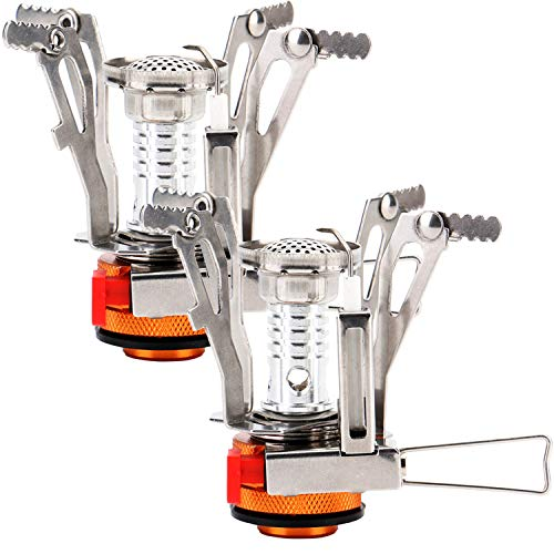Reehut Ultralight Portable Camping Stoves Backpacking Stove with Piezo Ignition Adjustable Valve Stainless Steel Material for Backpacking, Hiking, Riding, Mountaineering, Camping - Orange, 2 Pack