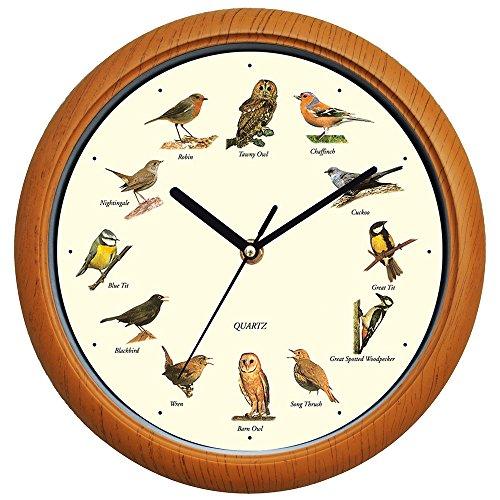 Benail Singing Bird Wall Clock 12 Inch with New Design of the Bird Names and Songs - Audubon Society Bird Clock