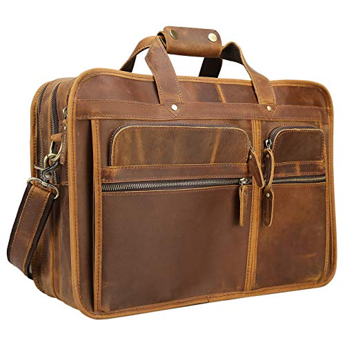 - Texbo Men's Solid Full Grain Cowhide Leather Large 17 Inch Laptop Briefcase Messenger Bag Tote