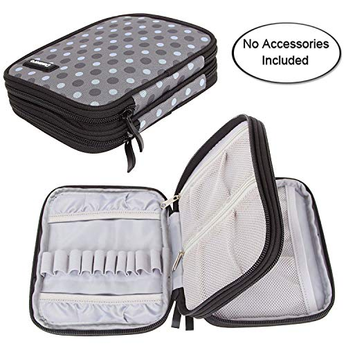 Damero Crochet Hook Case, Organizer Zipper Bag with Web Pockets for Various Crochet Needles and Knitting Accessories, Well Made and Easy to Carry, Medium, Gray Dots (No Accessories Included)