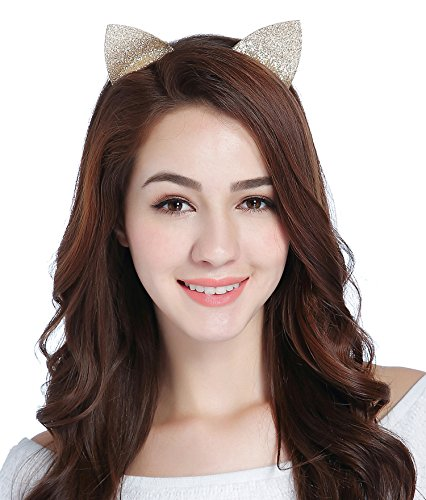 CAKYE Glitter Cat Ear Headband Party Hair Band Gift (One Size, Champagne (Cat Ears)) (Halloween Cat Ears Make)