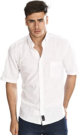 Camisa Manga Corta con Tejido Tipo Lino Blanco y Cuello Sport para Hombre: Amazon.es: Ropa y accesorios