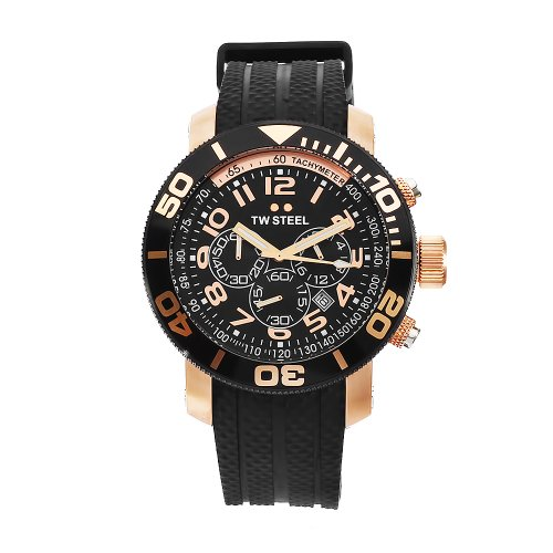 TW Steel Men's TW93 Grandeur Diver Black Rubber Chronograph Dial Watch