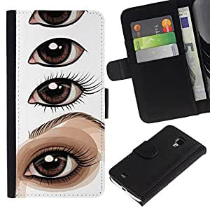 All Phone Most Case / Oferta Especial Cáscara Funda de cuero Monedero Cubierta de proteccion Caso / Wallet Case for Samsung Galaxy S4 Mini i9190 // Eye Drawing Lesson Artist Painting