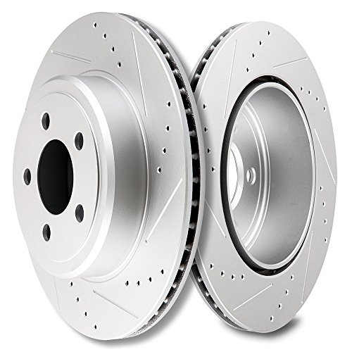 (SCITOO Brakes Rotors 2pcs Rear Drilled Slotted Discs Brake Rotors Brakes Kit fit 2005-2015 Chrysler 300,2009-2015 Dodge Challenger,2006-2015 Dodge Charger,2005-2008 Dodge Magnum)