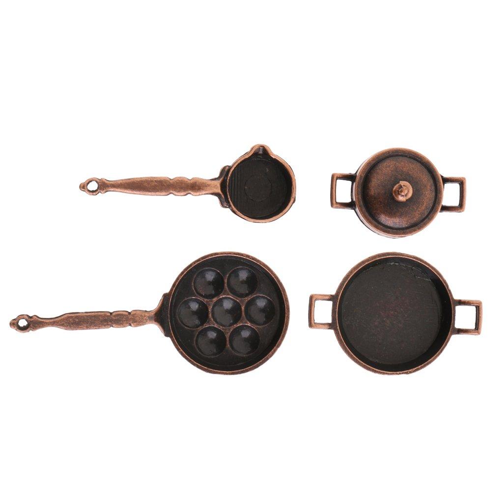 5 St/ück Miniatur Bratpfanne Topfpfanne Kochgeschirr Kit MagiDeal 1:12 Puppenhaus K/üche Kochen Zubeh/ör