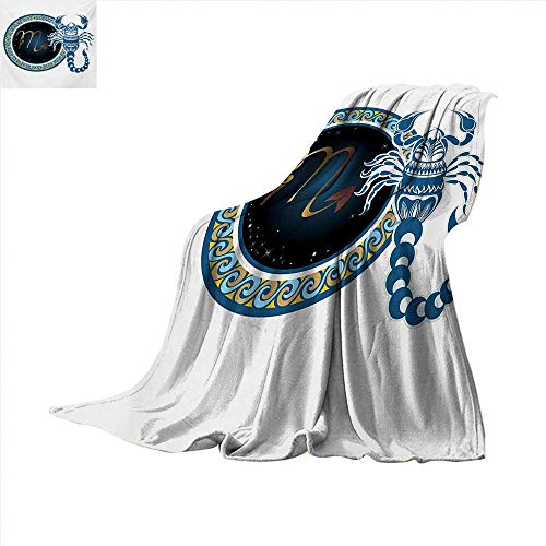 Ultralight Ghillie (Zodiac Scorpio Lightweight Blanket Circle Shapes with Waves Pattern and an Ornamental Scorpion Digital Printing Blanket 60 x 50 inch Blue Indigo Pale Brown)
