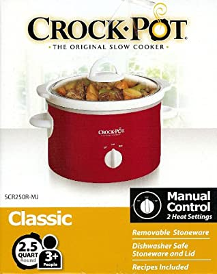 Crock-Pot 2.5 Quart Slow Cooker Manual 2 Heat Settings Red Removable Stoneware Liner On/Off from Sunbeam