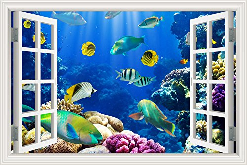 Peel and Stick Window View Under The Sea Tropical Fishes 3D Wall Arts Decals Home Decor Nursery Room Removable Stickers Undersea World 24x36 inches