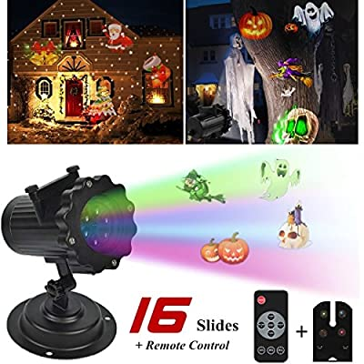 AGVOEA Christmas Halloween Led Light Projector Slides Outdoor holiday light projector with 16 Pattern Slides, Waterproof Sparkling Landscape Projection Light for Parties,and Garden Decoration