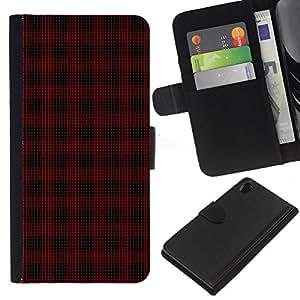 SONY Xperia Z2 / D6502 / L50 Modelo colorido cuero carpeta tirón caso cubierta piel Holster Funda protección - Emo Dark Goth Pattern Black Red