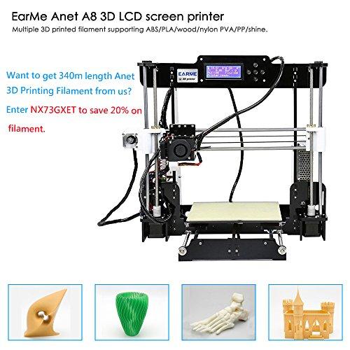 EARME Anet A8 3D Desktop Acrylic LCD Screen Printer DIY High Accuracy Self Assembly by EARME (Image #4)