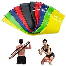 Bande Elastique Fitness Bande de Resistance Set 5 Équipement d'Exercices pour Musculation Pilates Squat Sport Crossfit Rééducation Physique et Motrice Entrainement Corps, Jambes, Fessiers