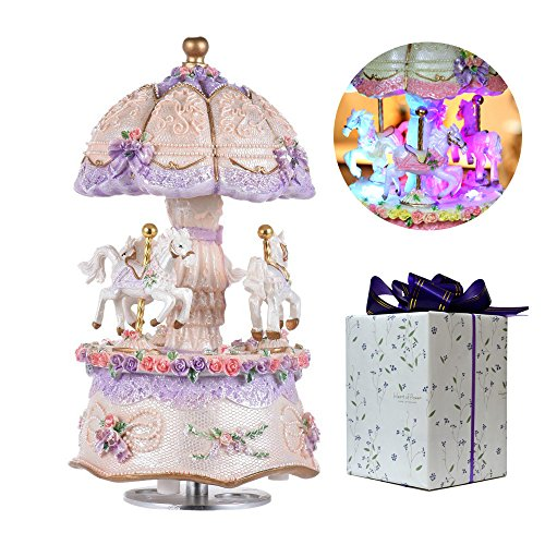 ACCOCO Carousel Music Box Luxury Color Change LED Light Luminous Rotating 3-Horse Carousel Horse Music Box Melody Carrying You from Castle in The Sky(Castle in The Sky, Purple)