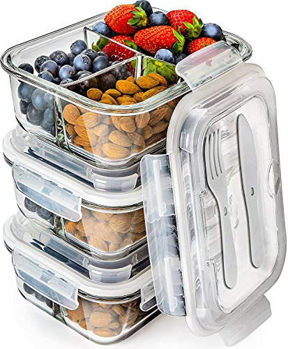 Glass Meal Prep Containers 3 Compartment - Bento Box Containers Glass Food Storage Containers with Lids - Food Containers Food Prep Containers Glass Storage Containers with lids Lunch Containers 3pk ()