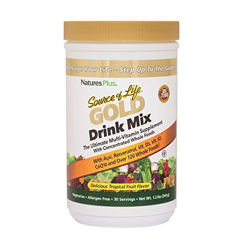 - Natures Plus Source of Life Gold Drink Mix - Tropical Fruit Flavor - 1.2 lbs, Vegetarian Drink Mix - Whole Food Multivitamin Supplement - Gluten Free - 30 Servings