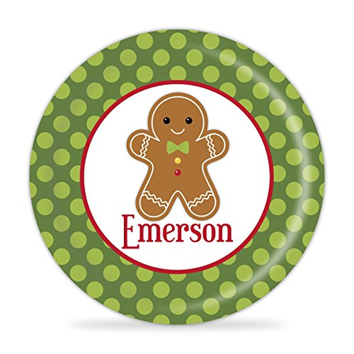 Gingerbread Personalized Plate - Gingerbread Boy Melamine Plate (Gingerbread Dinnerware Set)
