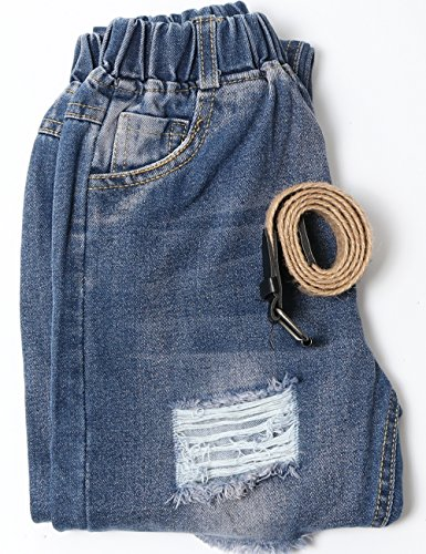 WIYOSHY Girls Skinny Ripped Elastic Pull On Denim Jeans Belt Age 5-14 Years (Blue, 7/8 (140)) by WIYOSHY (Image #5)
