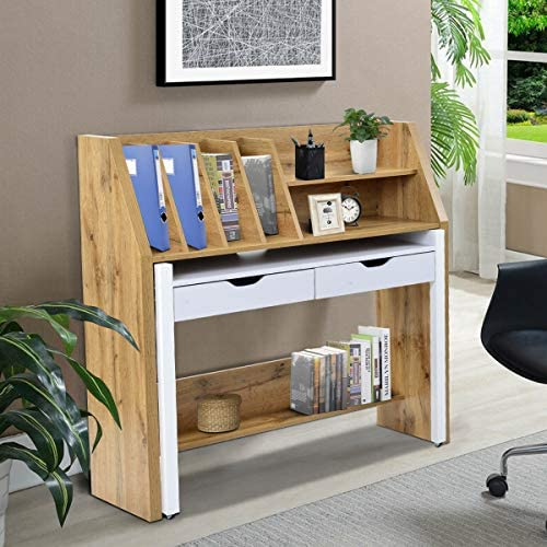 SSLine Writing Desk, Wooden Home Office Desk,Writing Study Table with 2 Side Storage Shelves, PC Laptop Notebook Desk, Spacious Workstation Writing Study Table,Black Type-4