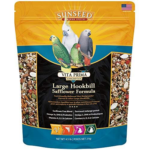 Sunseed 49060 Vita Prima Sunscription Lg Hookbill Pet Bird Food – Safflower High-Variety Formula, 4.5 LBS