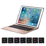 XFUNY iPad Keyboard Case for iPad Pro 12.9 Wireless Bluetooth 7 Colors LED Backlit iPad Keyboard with Aluminium Alloy Protective Case Cover Support Auto Wake/Sleep For iPad Pro 12.9 (Gold)