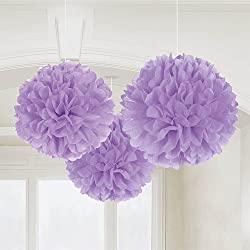 "Amscan Party Friendly Round Fluffy Tissue Hanging Decoration, Lilac, Paper, 16"", Pack of 3"