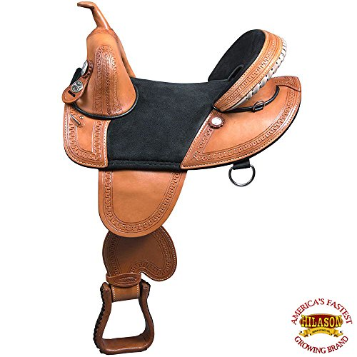 HILASON 14″ 15″ 16″ 17″ 18″ TREELESS Western Trail Barrel Racing Leather Saddle TAN/Brown/Black/Mahogany/Oiled
