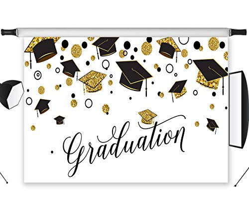 LB Graduation Party Backdrop for Photography Class of 2019 Congrats Grad and Graduation Cap Design Photo Booth Backdrop 7x5ft Vinyl Customized Photo Backgrounds Studio Props ()