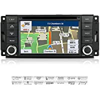 AIMTOM 2007-17 Jeep Wrangler 2008-17 Dodge Grand Caravan 2009-12 RAM 1500 In-Dash GPS Navigation Bluetooth DVD Stereo Touch Screen FM AM Radio USB SD Infotainment System w/ Copyrighted iGo Primo Maps