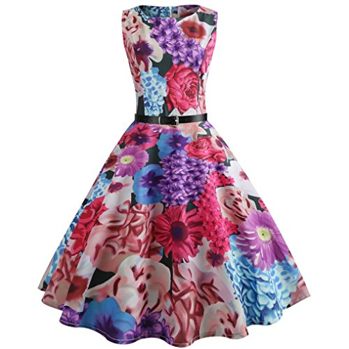 Cocktail Dress Han Shi Women Floral Printing Bodycon Sleeveless Casual Prom Swing Dress (Hot Pink, S)