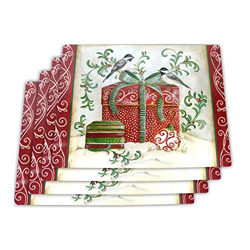 Now Designs 1777039 Cork-Backed Placemats Set of Four Winter Bird 4 Piece