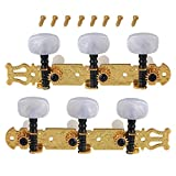 BQLZR Golden and Black Zinc Alloy Rectangle Button 3L3R Guitar Tuning Keys Pegs Machine Head Tuner for Classical Guitar Pack of 2