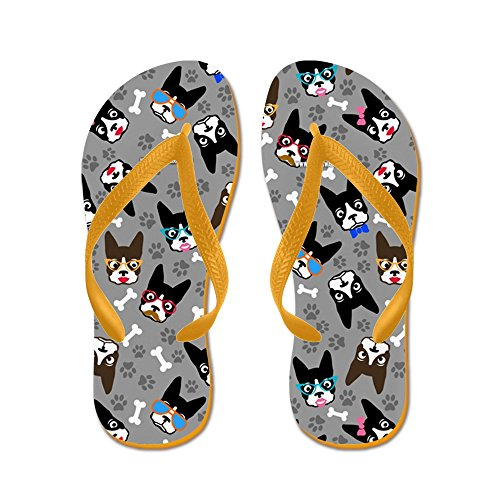 Cafepress Cute Boston Terrier Dog - Flip Flops, Grappige String Sandalen, Strand Sandalen Oranje