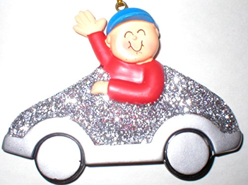 Male Boy My First Car or 1st License Christmas Tree Ornament Gift Silver (Christmas Ornament Car First)