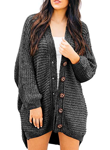 HOTAPEI Women's Sweaters Cardigans Casual Loose Oversized Lightweight Chenille Cozy Loose Oversized Open Front Cable Knit Chunky Cardigan Long Sleeve Sweater Coat with Pocket Dark Gray Large