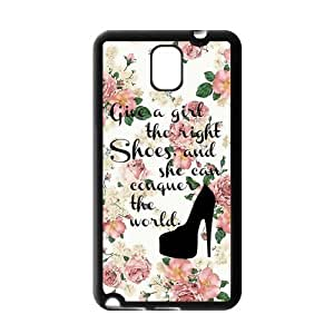 Vintage Floral Give A Girl The Right Shoes And She Can Conquer The World Rubber Cell Phone Cover Case for SamSung Galaxy Note 3,Note iii Cases